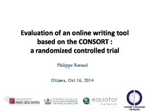 Evaluation of an online writing tool based on the CONSORT : a randomized controlled trial