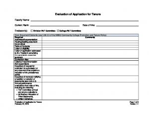 Evaluation of Application for Tenure