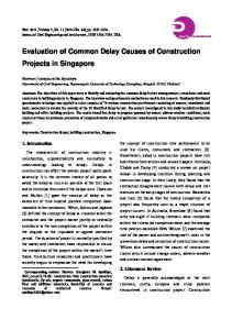 Evaluation of Common Delay Causes of Construction Projects in Singapore