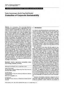 Evaluation of Corporate Sustainability