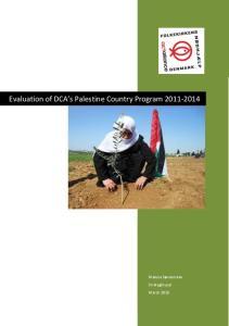Evaluation of DCA s Palestine Country Program