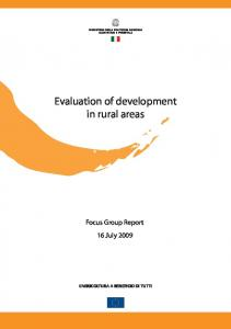 Evaluation of development in rural areas