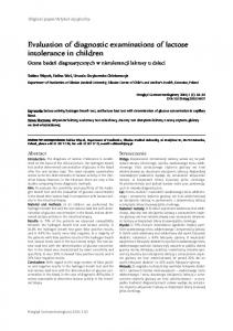 Evaluation of diagnostic examinations of lactose intolerance in children