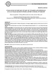 EVALUATION OF DIETARY INTAKE OF VITAMINS AND MINERALS IN YEAR-OLD BOYS FROM A SPORT SCHOOL IN WARSAW