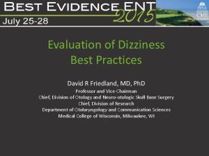 Evaluation of Dizziness Best Practices