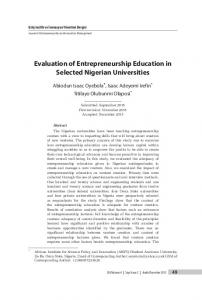 Evaluation of Entrepreneurship Education in Selected Nigerian Universities