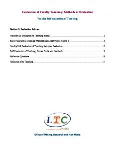 Evaluation of Faculty Teaching: Methods of Evaluation
