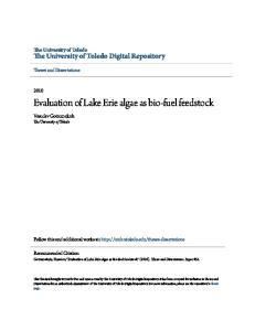 Evaluation of Lake Erie algae as bio-fuel feedstock