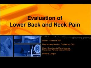 Evaluation of Lower Back and Neck Pain