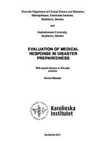 EVALUATION OF MEDICAL RESPONSE IN DISASTER PREPAREDNESS