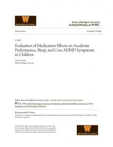 Evaluation of Medication Effects on Academic Performance, Sleep, and Core ADHD Symptoms in Children
