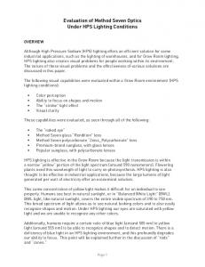 Evaluation of Method Seven Optics Under HPS Lighting Conditions