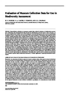 Evaluation of Museum Collection Data for Use in Biodiversity Assessment