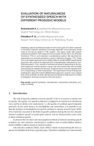 Evaluation of naturalness. different prosodic models