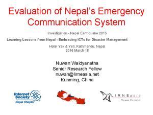 Evaluation of Nepal s Emergency Communication System