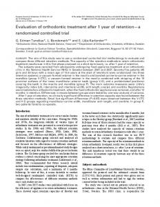 Evaluation of orthodontic treatment after 1 year of retention a randomized controlled trial