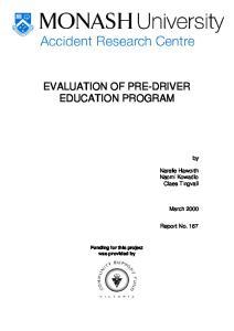 EVALUATION OF PRE-DRIVER EDUCATION PROGRAM