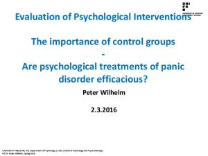Evaluation of Psychological Interventions