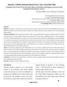 Evaluation of R. B. Tone XT for the safety, efficacy, tolerability and pregnancy outcomes in the management of pregnancy anemia
