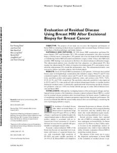 Evaluation of Residual Disease Using Breast MRI After Excisional Biopsy for Breast Cancer