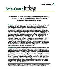 Evaluation of Safe-Guard (fenbendazole) Efficacy in Turkeys Under Simulated Field Conditions and Ascaridia Dissimilis Challenge