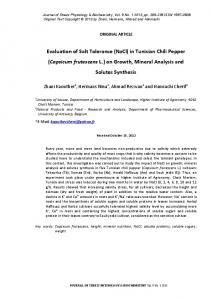 Evaluation of Salt Tolerance (NaCl) in Tunisian Chili Pepper (Capsicum frutescens L.) on Growth, Mineral Analysis and Solutes Synthesis