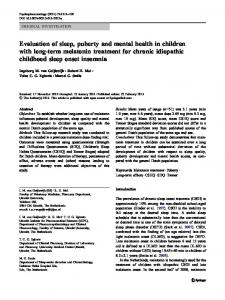 Evaluation of sleep, puberty and mental health in children with long-term melatonin treatment for chronic idiopathic childhood sleep onset insomnia