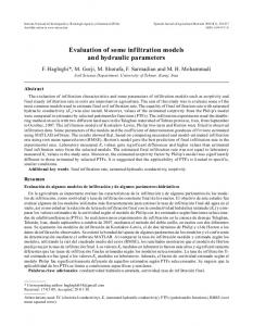 Evaluation of some infiltration models and hydraulic parameters