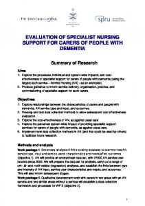 EVALUATION OF SPECIALIST NURSING SUPPORT FOR CARERS OF PEOPLE WITH DEMENTIA