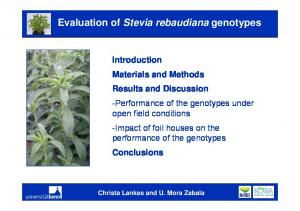 Evaluation of Stevia rebaudiana genotypes