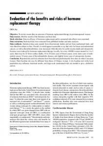 Evaluation of the benefits and risks of hormone replacement therapy