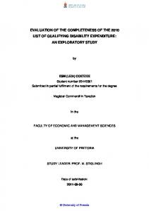 EVALUATION OF THE COMPLETENESS OF THE 2010 LIST OF QUALIFYING DISABILITY EXPENDITURE: AN EXPLORATORY STUDY
