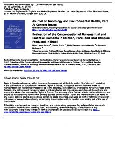 Evaluation of the Concentration of Nonessential and Essential Elements in Chicken, Pork, and Beef Samples Produced in Brazil