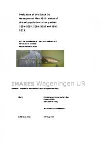 Evaluation of the Dutch Eel Management Plan 2015: status of the eel population in the periods , and