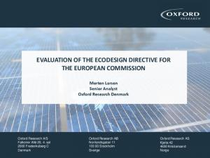 EVALUATION OF THE ECODESIGN DIRECTIVE FOR THE EUROPEAN COMMISSION