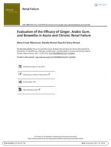 Evaluation of the Efficacy of Ginger, Arabic Gum, and Boswellia in Acute and Chronic Renal Failure