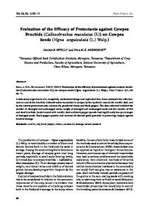 Evaluation of the Efficacy of Protectants against Cowpea Bruchids (Callosobruchus maculatus (F.)) on Cowpea Seeds (Vigna unguiculata (L.) Walp
