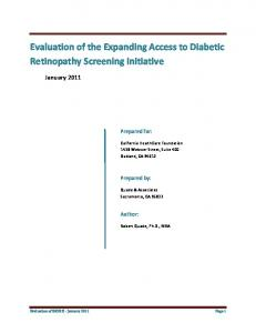 Evaluation of the Expanding Access to Diabetic Retinopathy Screening Initiative