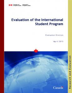 Evaluation of the International Student Program