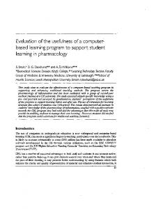 Evaluation of the usefulness of a computerbased learning program to support student learning in pharmacology
