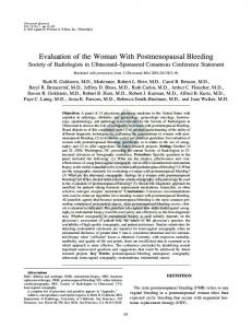 Evaluation of the Woman With Postmenopausal Bleeding Society of Radiologists in Ultrasound Sponsored Consensus Conference Statement