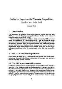 Evaluation Report on the Discrete Logarithm Problem over finite fields