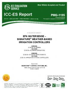 EVALUATION SUBJECT: EPA WATERSENSE SIGNATURE WEATHER-BASED IRRIGATION CONTROLLERS DIVISION: PLUMBING SECTION: PLUMBING (IRRIGATION)