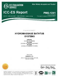 EVALUATION SUBJECT: HYDROMASSAGE BATHTUB SYSTEMS DIVISION: PLUMBING SECTION: PLUMBING EQUIPMENT SECTION: PLUMBING FIXTURES