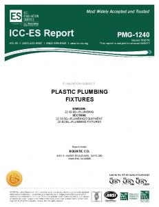 EVALUATION SUBJECT: PLASTIC PLUMBING FIXTURES DIVISION: PLUMBING SECTION: PLUMBING EQUIPMENT PLUMBING FIXTURES