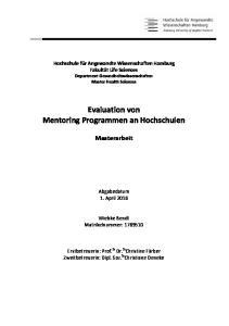 Evaluation von Mentoring Programmen an Hochschulen