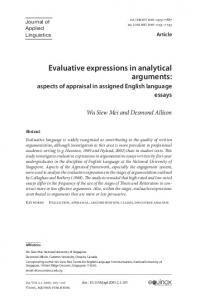 Evaluative expressions in analytical arguments: