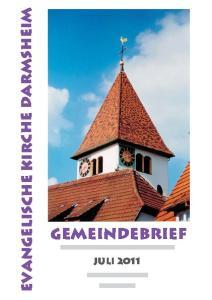 Evangelische Kirche Darmsheim. Gemeindebrief
