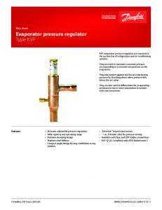 Evaporator pressure regulator Type KVP