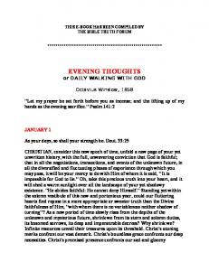 EVENING THOUGHTS or DAILY WALKING WITH GOD